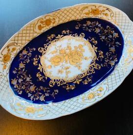 Cobalt fine porcelain serving plate