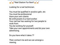 **Nail station for Rent**
