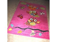 Thick, good quality cute pink Owl rug – fuschia pink, green & blue 120cm by 170cm