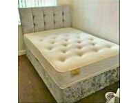 🔵💖🔴Made to UK Standard🔵💖🔴CRUSHED VELVET DIVAN BED BASE SINGLE/DOUBLE/KING SIZE DIFF MATTRESSES