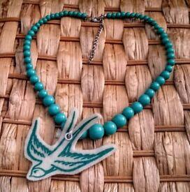 Felt Swallow Beaded Necklace Turquoise Blue Green Retro Rockabilly Bird