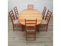Ercol Dining Table With Six Chairs (DELIVERY AVAILABLE)