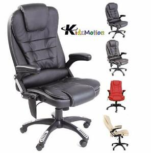 leather high back reclining office desk chair with massage and heat