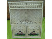 wicker white corner shelf unit with two shelves and doors, conservatory, kitchen