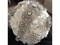 Bridal bouquet white silver crystal pearls BRAND NEW