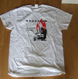 """The Redskins """"The Power Is Yours"""" White Cotton T-Shirt. Size Medium. New. Rare."""