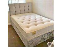 GET THE BEST SELLING BRAND=DOUBLE CRUSHED VELVET DIVAN BED BASE WITH DEEP QUILTED MATTRESS