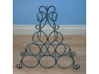 WINE RACK (6 BOTTLES) IRON/METAL, BLUE, DISTRESSED LOOK, V GD CONDITION