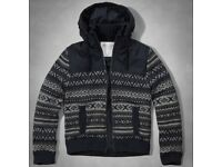 BRAND NEW - Mens Abercrombie and Fitch Nylon lined Warm Cardigan Hoodie Winter Jacket – SIZE LARGE