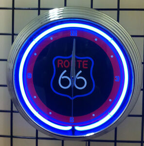 ROUTE-66-Neon-Wall-Clock