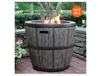 "27"" Wine Barrel Gas Fire Table Patio Heater Outdoor Garden Gas Free Standing"