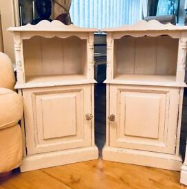 Solid pine shabby bedside cabinets