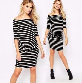 Maternity Stripe Bardot Dress Black White 34 Sleeve UK 18 new