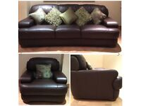 Sofitalia Italian RRP £3800 Dark Brown Soft Leather 3 Seater Sofa Settee & 1 Armchair