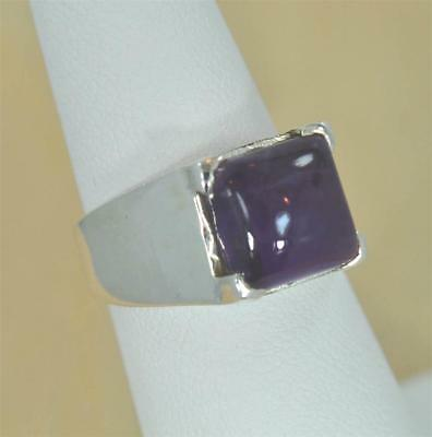 NATURAL AMETHYST FEBRUARY BIRTHSTONE 925 STERLING  SILVER MENS/WOMEN RING MB3