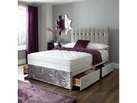 BRAND NEW LUXURY DOUBLE/KING CRUSHED VELVET DIVAN BED w MEMORY FOAM ORTHOPEDIC MATTRESS