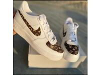 Brown and White Designer like Custom Air Forces With FREE CREASE PROTECTOR