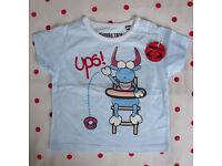 ** NEW ** with original tag Planeta Toro round neck short sleeve pale blue t-shirt. Age 12-18 mths.