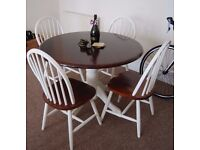 Solid round dining table and 4 chairs, shabby chic