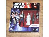 Star Wars Force Awakens Han Solo & Princess Leia Twin Pack New Sealed.