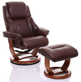 Leather Reclining Chair with footstool.