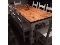 Beautiful shabby chic dining table and 8 chairs