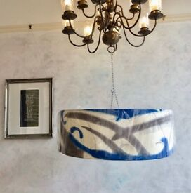 NEW   DIONNE SWIFT Large Designer Hand Painted Hand Stitched Standard Light  Shade