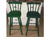 Shabby chic pair of solid pine breakfast bar stool/chairs