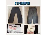 X2 School trousers John Lewis and bhs bundle both for £1