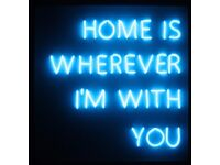 HOME IS WHEREVER IM WITH YOU BLUE NEON SIGN LIGHT LIGHTING QUOTE GLOW FRAME WALL ART CUSTOM