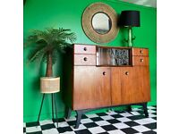 Good Vintage Cond Mid Century Modern Sideboard / Cocktail Bar / Record Cabinet / Buffet /Drawers