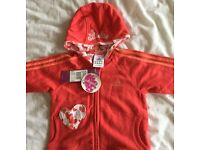 BNWT girls coral Adidas hooded top 6-9 months