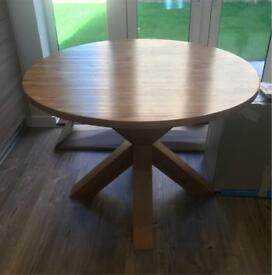 NEXT HUDSON Solid Oak Round Dining Table Set Four Chairs