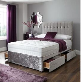 ★★ CRUSHED VELVET DIVAN BED ★★ WITH MEMORY FOAM ORTHO MATTRESS SINGLE,DOUBLE AND KING SIZE
