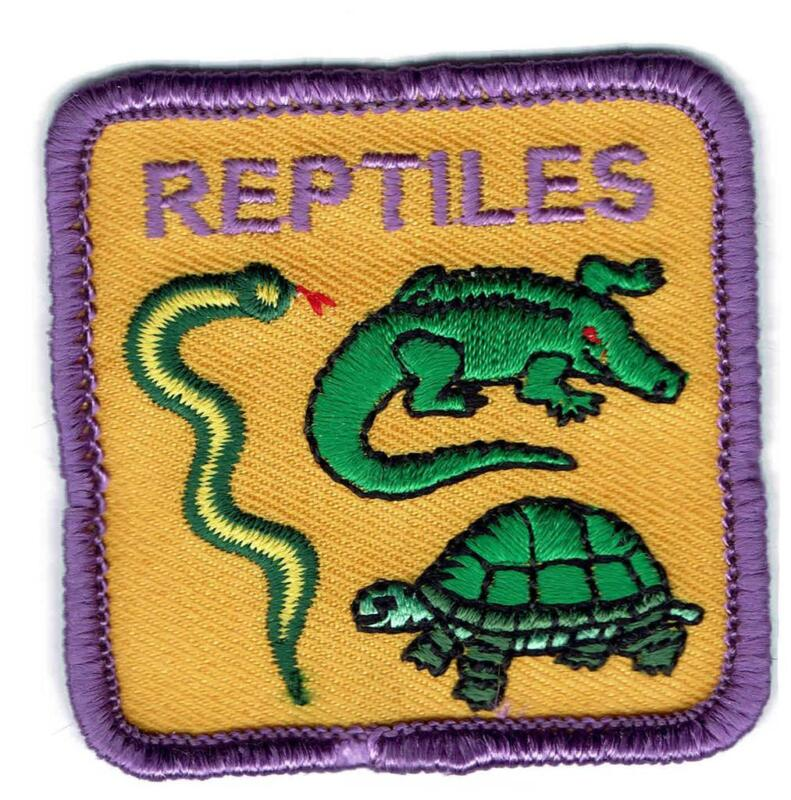 Girl Cub Boys REPTILES turtle snake lizard Fun Patches Crests Badges SCOUT GUIDE