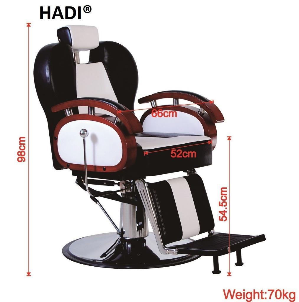 NEW HEAVY DUTY WHITE&BLACK HADI® BARBER CHAIR BC-24,CASH ON COLLECTION ONLY