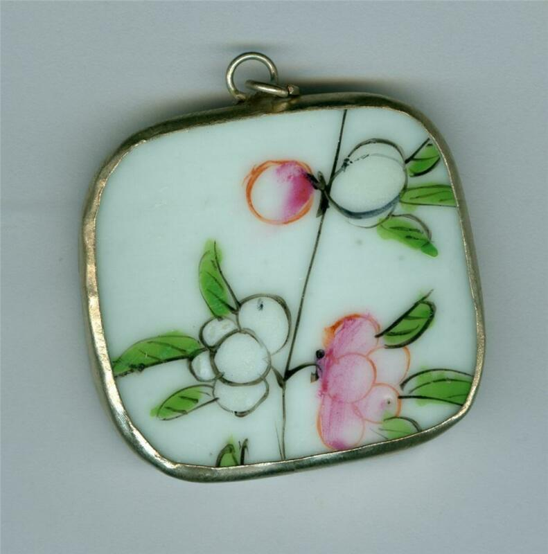 EARLY 20TH CENTURY CHINESE PORCELAIN NICKEL PENDANT FRUIT