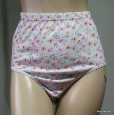 VINTAGE SOFT WHITE FLORAL COTTON KNICKERS PANTIES Med NWOT