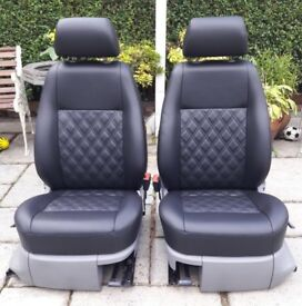 VW CADDY BLACK LEATHER SEATS with DOUBLE BENTLEY STITCH T5 new interior