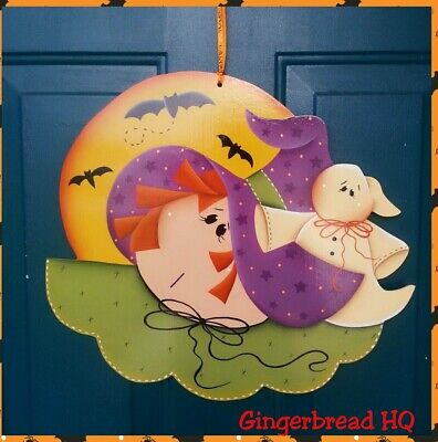 Hand Painted  Halloween Wooden Wall Hanging, Lawn Decoration, Witch, - Halloween Lawn Decoration
