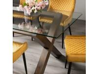 Clear Tempered Glass 6 Seater Dining Table with Dark Oak Legs
