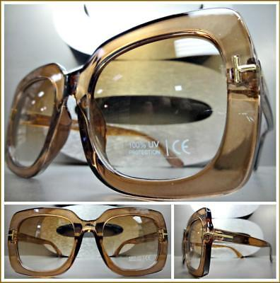 Oversized RETRO Luxury Designer Style SUN GLASSES Square Brown Frame Honey (Brown Square Glasses)