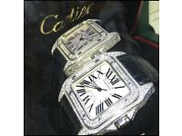 Diamond Cartier Santos, NOT, Rolex, Hublot, Breitling, Tag heuer, A Piguet, Patek, Richard Mille