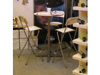 Ikea Billsta, White Bar Table, 3 chairs, Folding Bar Stools, Mint Condition