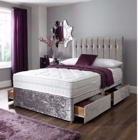 ❋❋ Supreme Quality ❋❋ Crushed Velvet Double Divan Bed ❋❋ Same Day Free Delivery -3 Different Colors