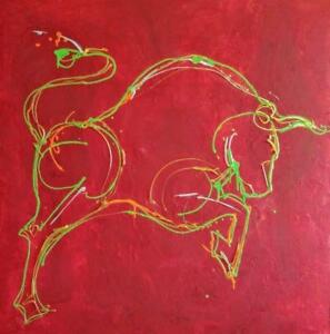 "RED BULL #4 Huge Abstract painting 48x48"" Thick Gallery Canvas Val Koudelka Oakville  Red Green 4' SQUARE Bull fighting"