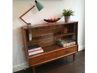 Vintage 1970's Glazed Teak Cabinet / Bookcase
