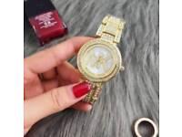 ladies gold diamante watch