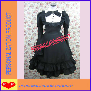 Gothic-sweet-Lolita-Stunning-Lace-cute-bow-cosplay-Black-Ball-Gown-cotton-Dress