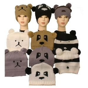 Ladies-Childs-Knitted-Animal-Face-Beanie-Hat-With-Pom-Pom-Ears-Bear-Panda-Racoon
